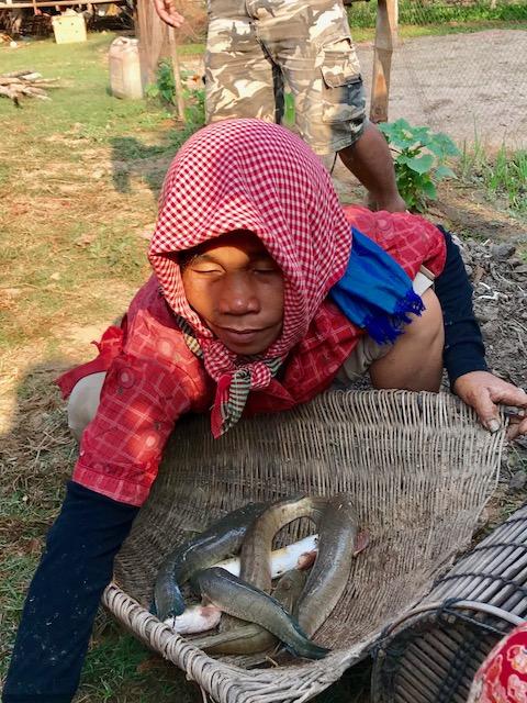 Village lady w scarf w snake fish in basket.jpg*.jpg