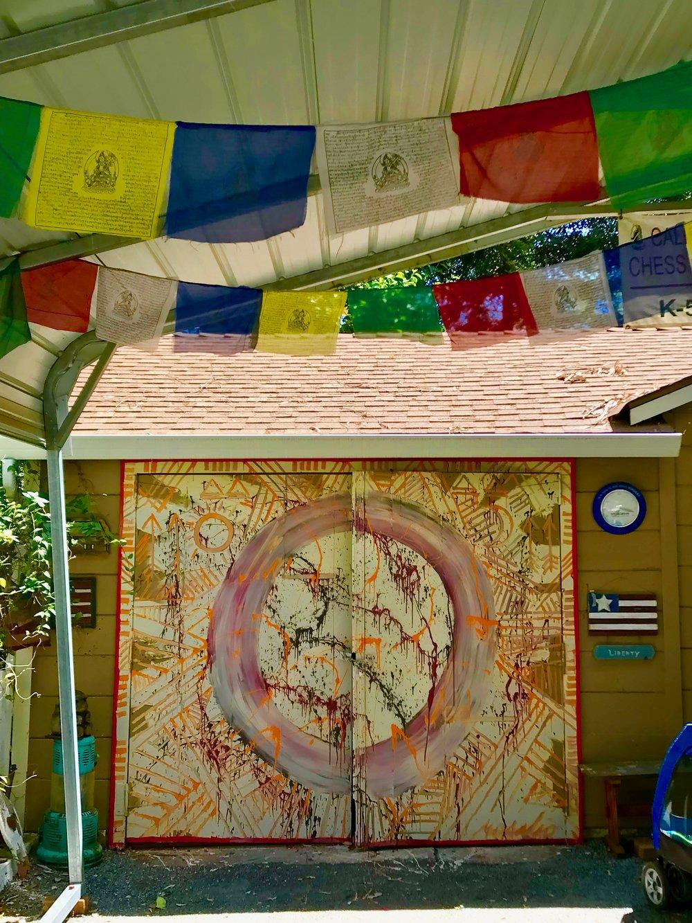 Jimi's Garage Door Painting & TIbetan flags.jpg*.jpg