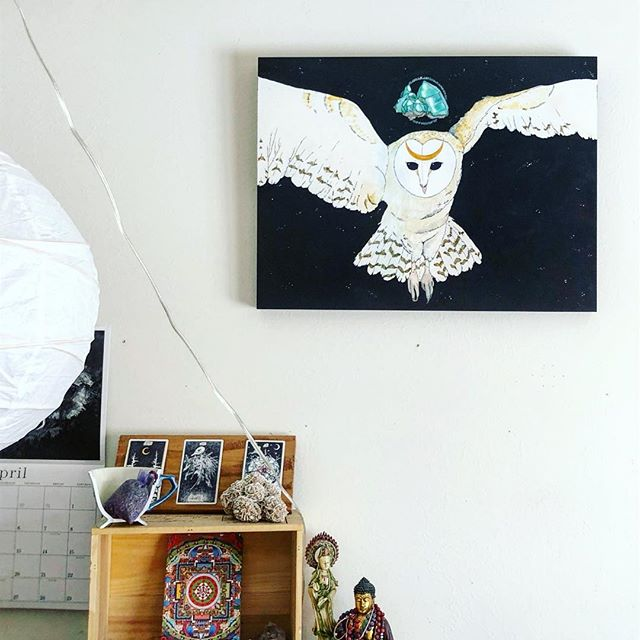 Owl Medicine always guides me in my art space 🦉  And yes, I haven't changed my wall calendar since April of last year 😂 Happy Monday, y'all! ✨ * * * * * * #witchesofinstagram #artistmom #owlmedicine #spiritanimal #owl #barnowl #watercolor #painting #emerald #crystal #crystalcluster #midnight #takeflight #illustration #art #artist #santafeartist #creative #wildwoman #wildwomancreative #artspace #studio #artroom #nature #natureart