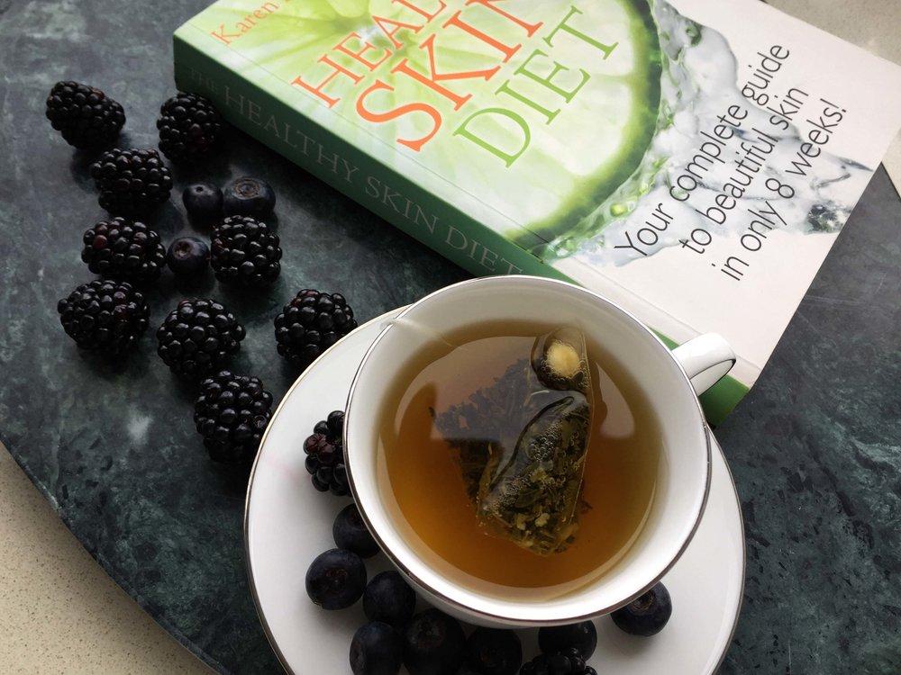 The Healthy Skin Diet  by Karen Fischer, Lots of Green Tea and Berries