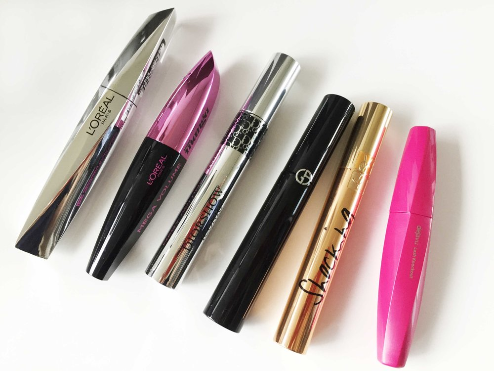 L'Oréal False Lash Architect 4D $15.36AUD, L'Oréal Manga Mega Volume Mascara $15.35AUD, Diorshow Iconic Overcurl Mascara $47.50AUD, Giorgio Armani Eyes To Kill Wet Length & Volume Waterproof Mascara $43.50AUD, Yves Saint Laurent Mascara Volume Effet Faux Cils (Shocking) Mascara $42.50AUD and Dejavu Lash Knockout Extra Volume Mascara ($21AUD)
