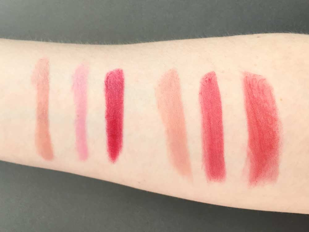From Left to Right: Lip Crayon Sedona Sands, Lip Crayon Carolina Coast, Lip Crayon Napa Vineyard, Lipstick Nile Nude, Lipstick Ruby Ripple, Lipstick Scarlet Soaked