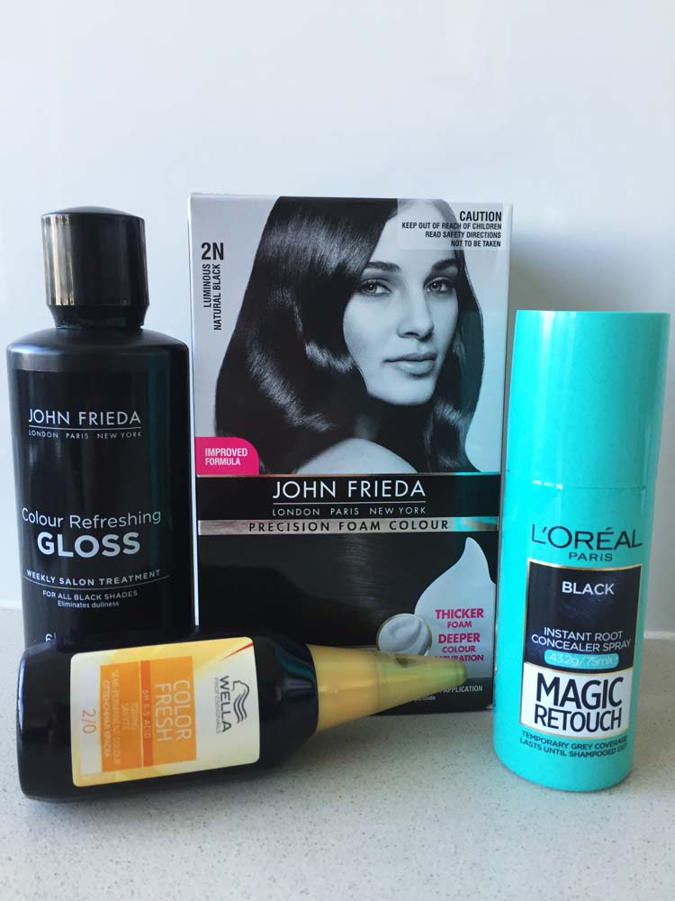 John Frieda Colour Refreshing Gloss, John Frieda Precision Foam Colour, L'oréal Magic Retouch, Wella Color Fresh.