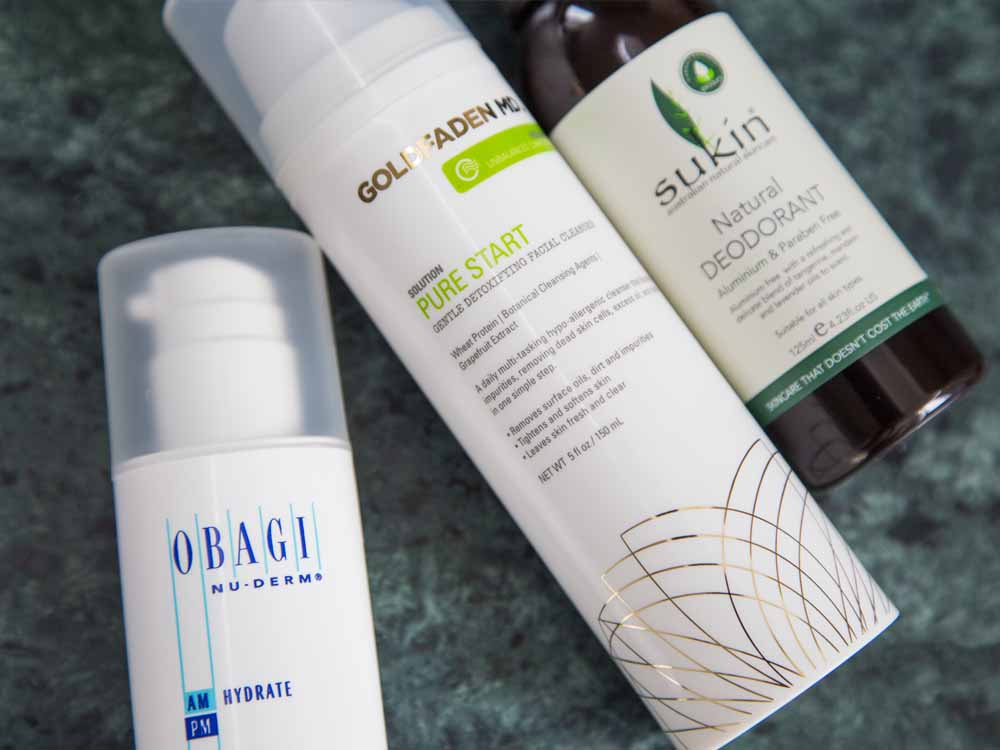 Obagi Nu-Derm Am Hydrate, Goldfaden MD Pure Start, Sukin Natural Deodorant