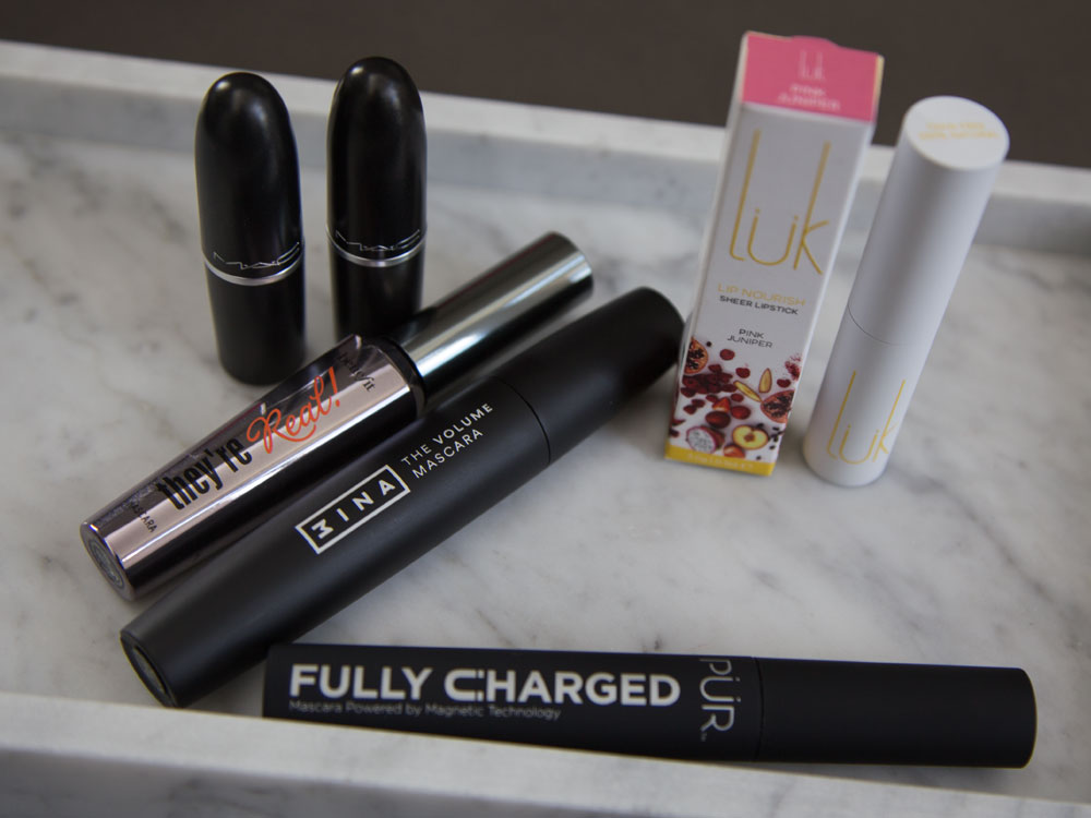 Natural Cosmetics vs Original Formulas; MAC Lustre Lipstick, They're Real! Lengthening Mascara, 3INA The Volume Mascara, PUR Fully Charged Mascara, Luk Beautifood Lip Nourish Sheer Lipstick