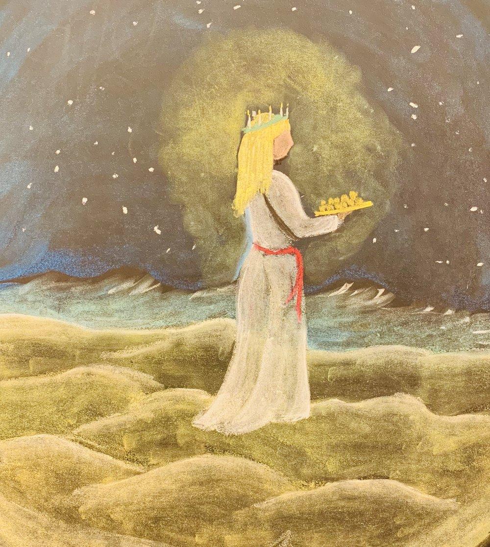 Santa Lucia drawn in chalk.