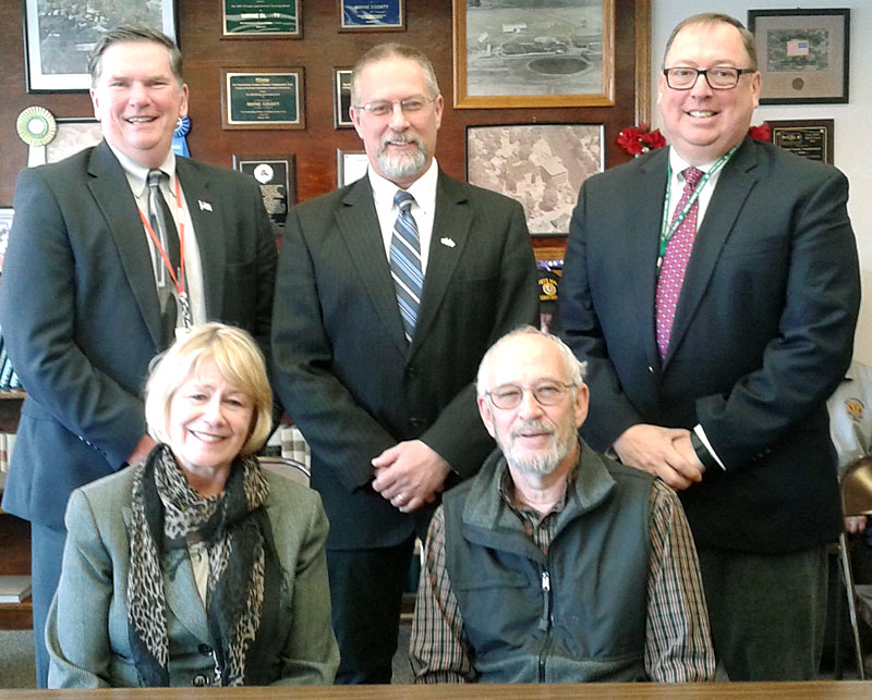 The Wayne County Commissioners have backed a plan presented by the Wayne & Pike Trails & Watersways Alliance to develop a vast interconnected trail system between Honesdale and Hawley. Picture: Alliance members Lisa Champeau and Grant Genzlinger (L to R, Front), Commissioners Wendell Kay, Brian Smith, and Joseph Adams.