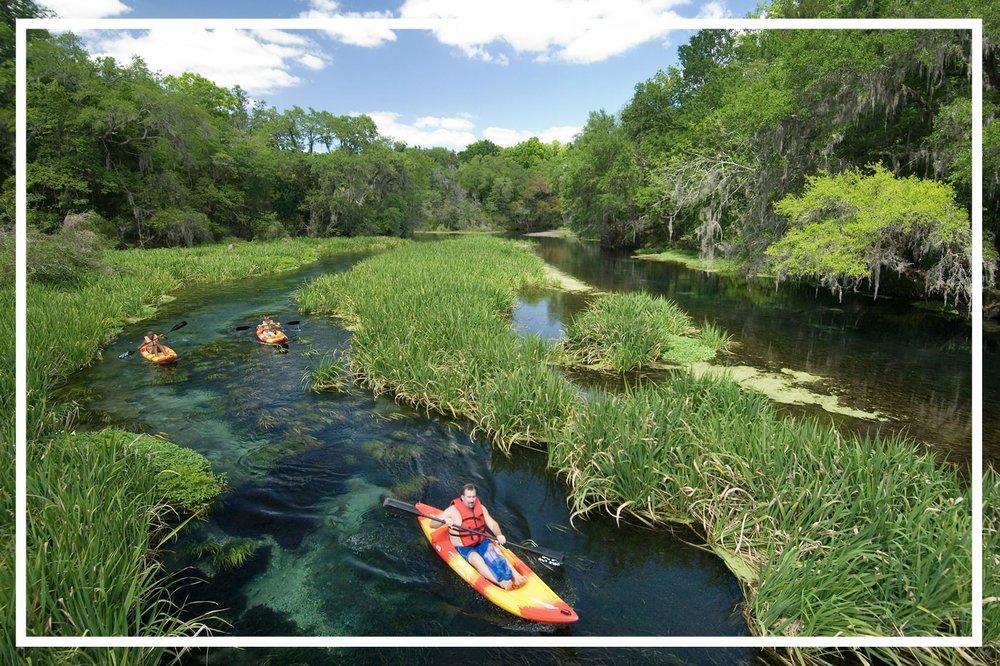 Kayakers in Ichetucknee Springs State Park, Fort White. Photo by John Moran.
