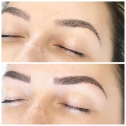 Fusion Brows before and after (client previously had tattooed brows)