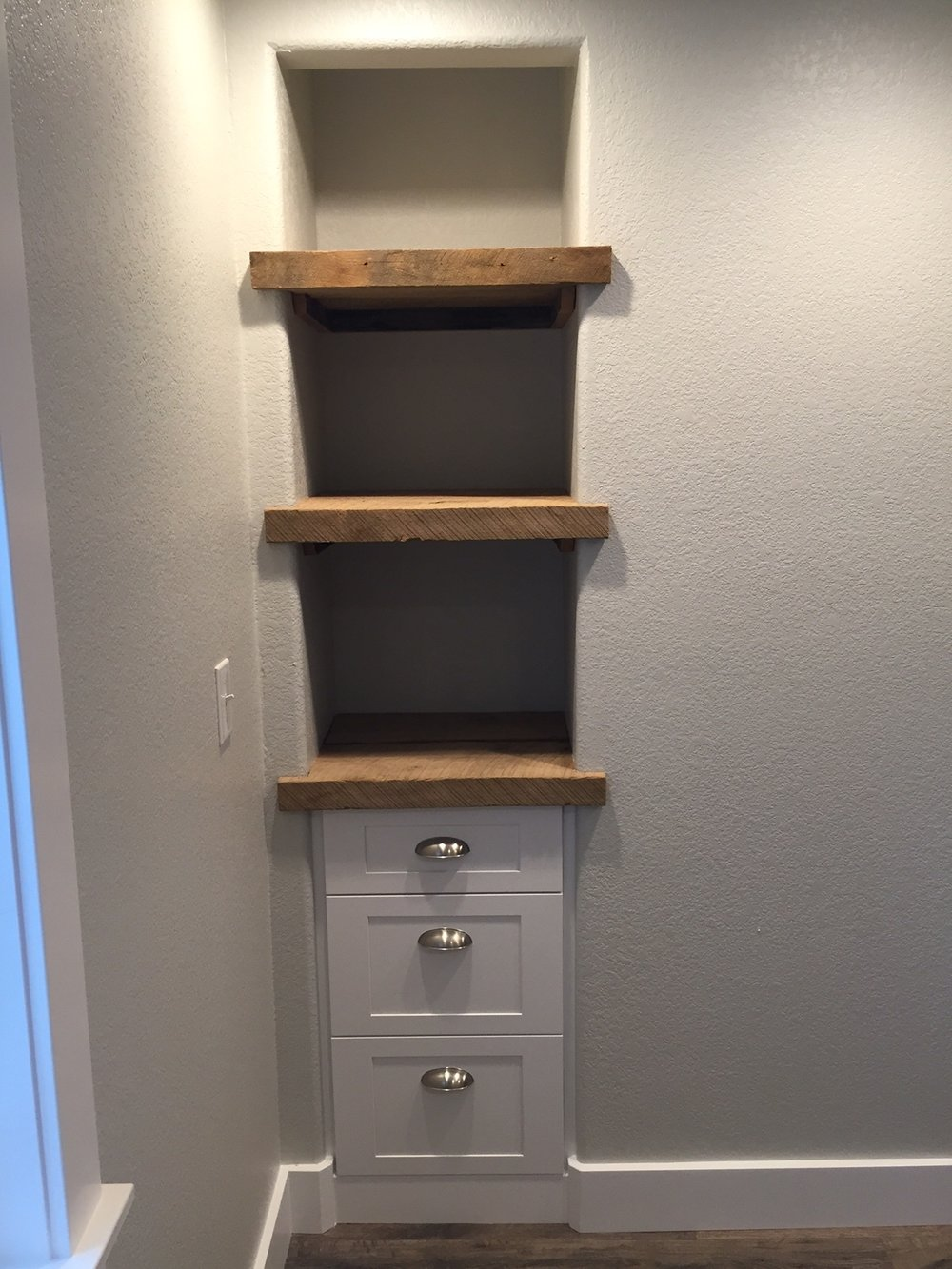 reclaimed wood shelving