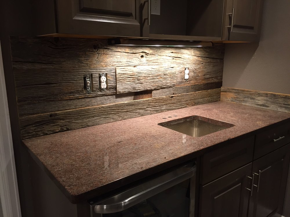 wet bar reclaimed wood