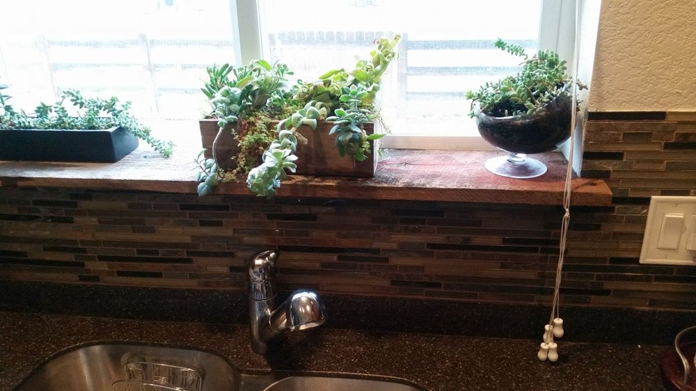 Reclaimed wood window sill