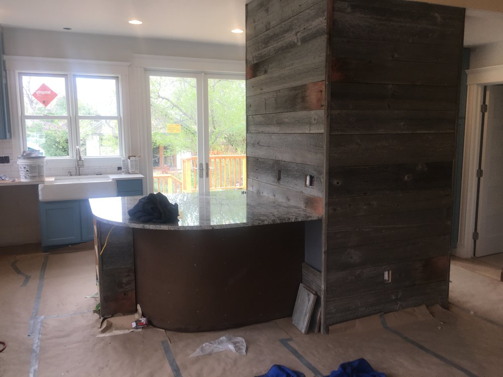 Barnwood wall kitchen longmont
