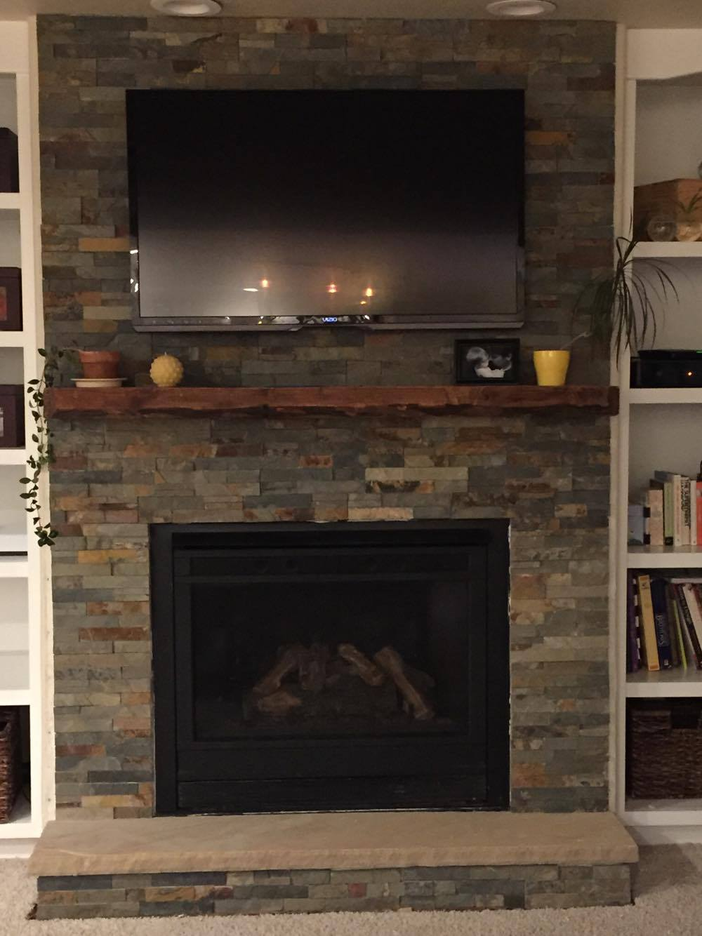 reclaimed wood mantle fireplace
