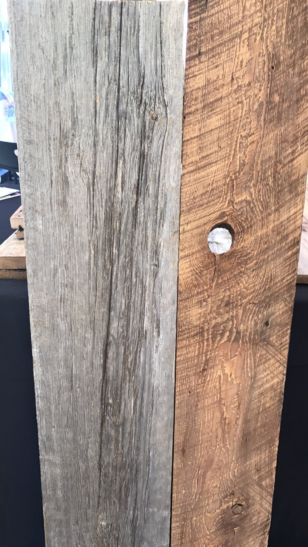 Grey and brown reclaimed barn wood