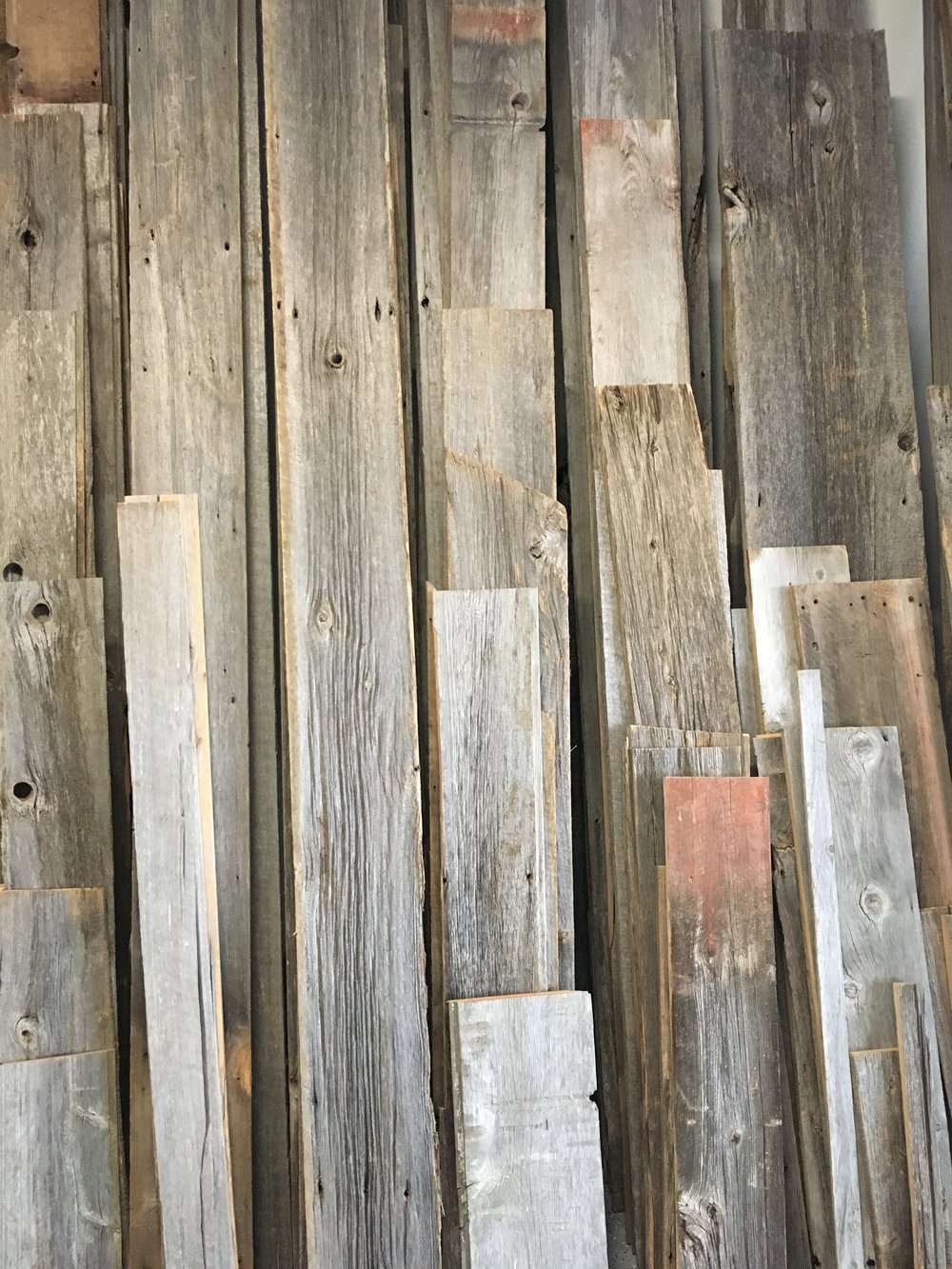 Grey reclaimed wood. In Longmont showroom