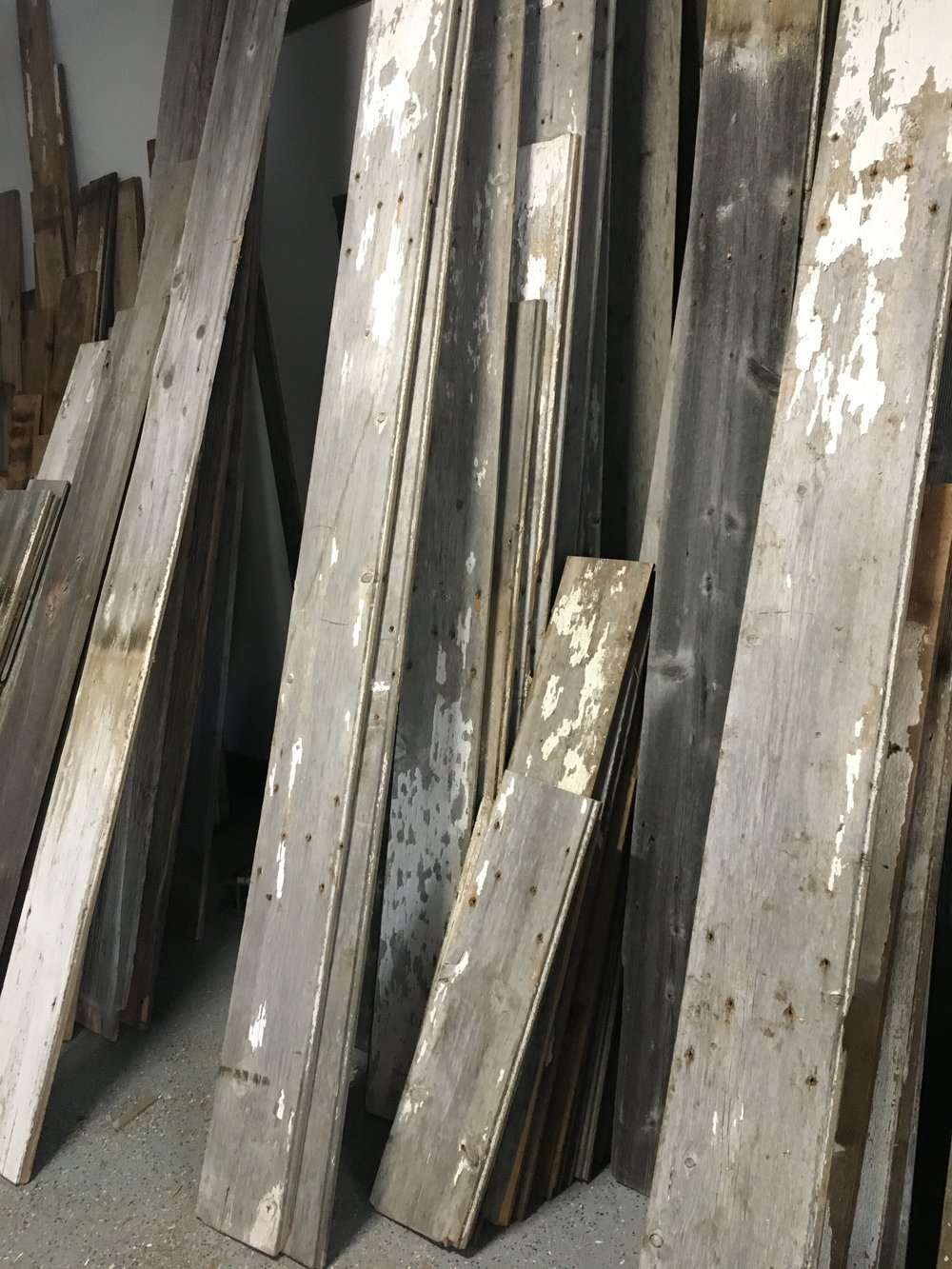 Grey and white reclaimed wood