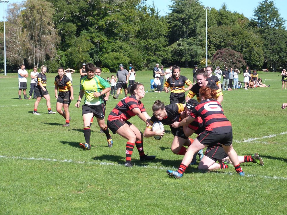 Dotting down against Hamilton Old Boys earlier in the season.  Photo: Waikato Womens Rugby Facebook page.