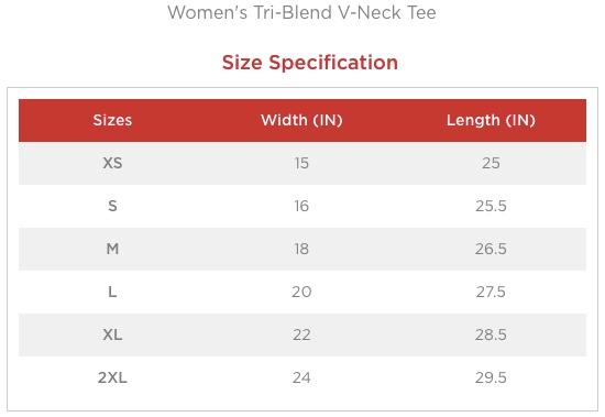 KDF women's v-neck size chart