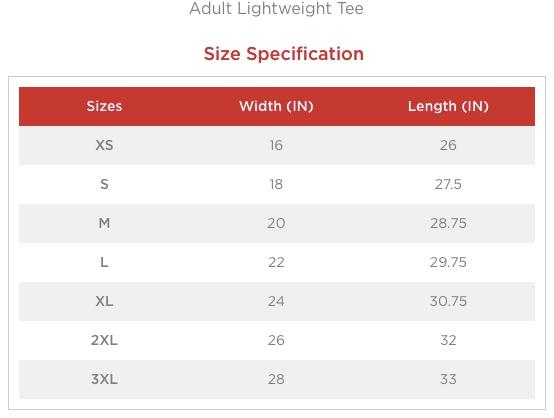 KDF unisex size chart
