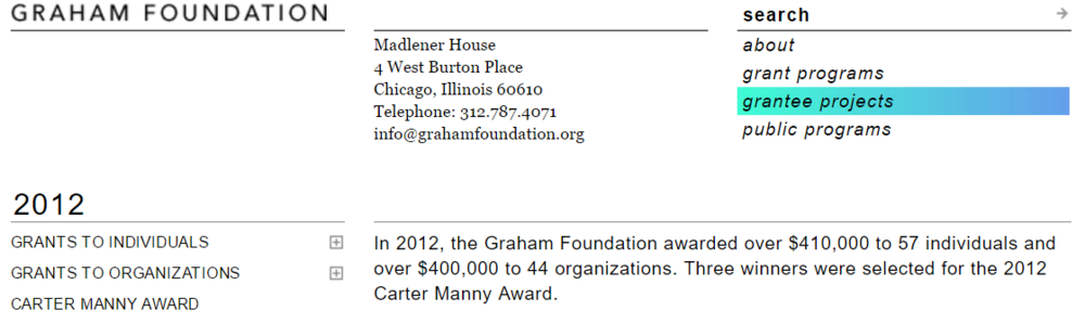 2012 /  Ashley's work with the  Archeworks  New Practice program earns a coveted  Graham Foundation Grant.