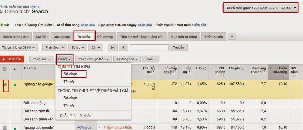 Sử dụng báo cáo cụm từ tìm kiếm