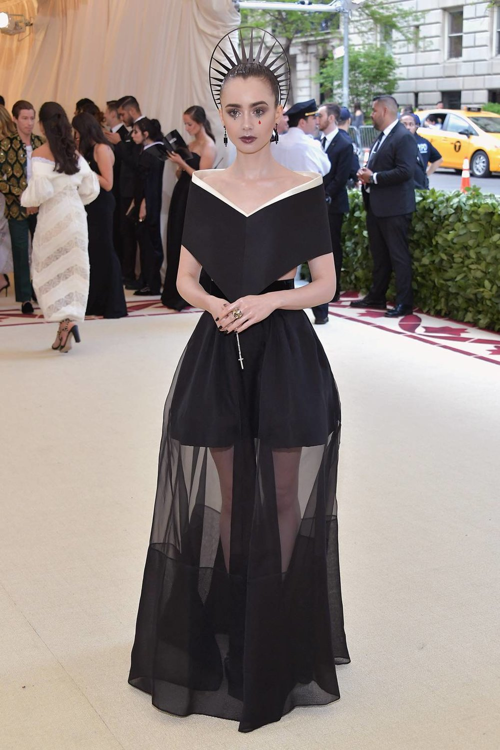 Lily Collins in Givenchy Haute Couture