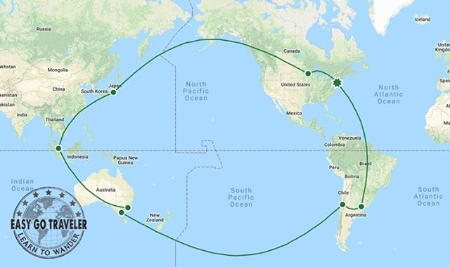 How sweet is this route we just booked for a member?! They will be visiting Argentina, Chile, Australia, Singapore, & Japan. All in first class style of course 😎 #EasyGoTraveler #LearnToWander #Travel #PointsandMiles