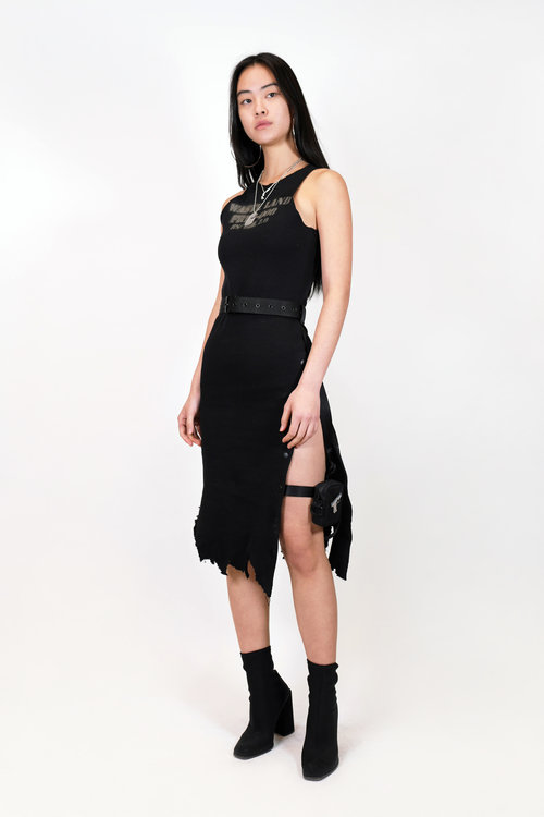 DISTRESSED JERSEY DRESS w  GARTER BELT — HYEIN SEO