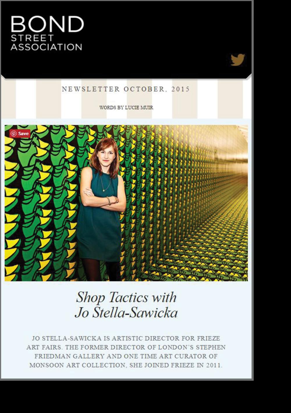 Bond Street Newsletter on Jo-Stella Sawicka