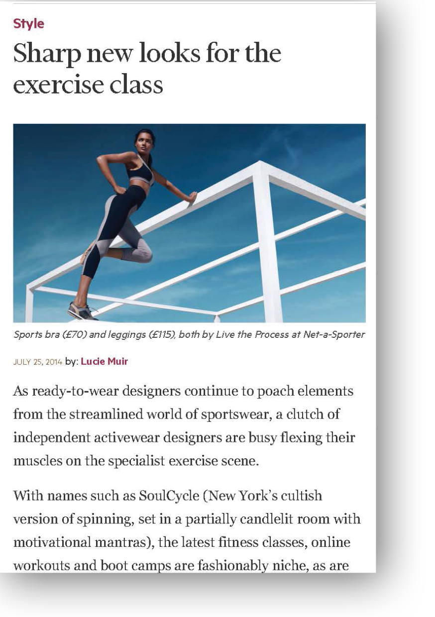 Sharp New Looks for the Exercise Class FT article