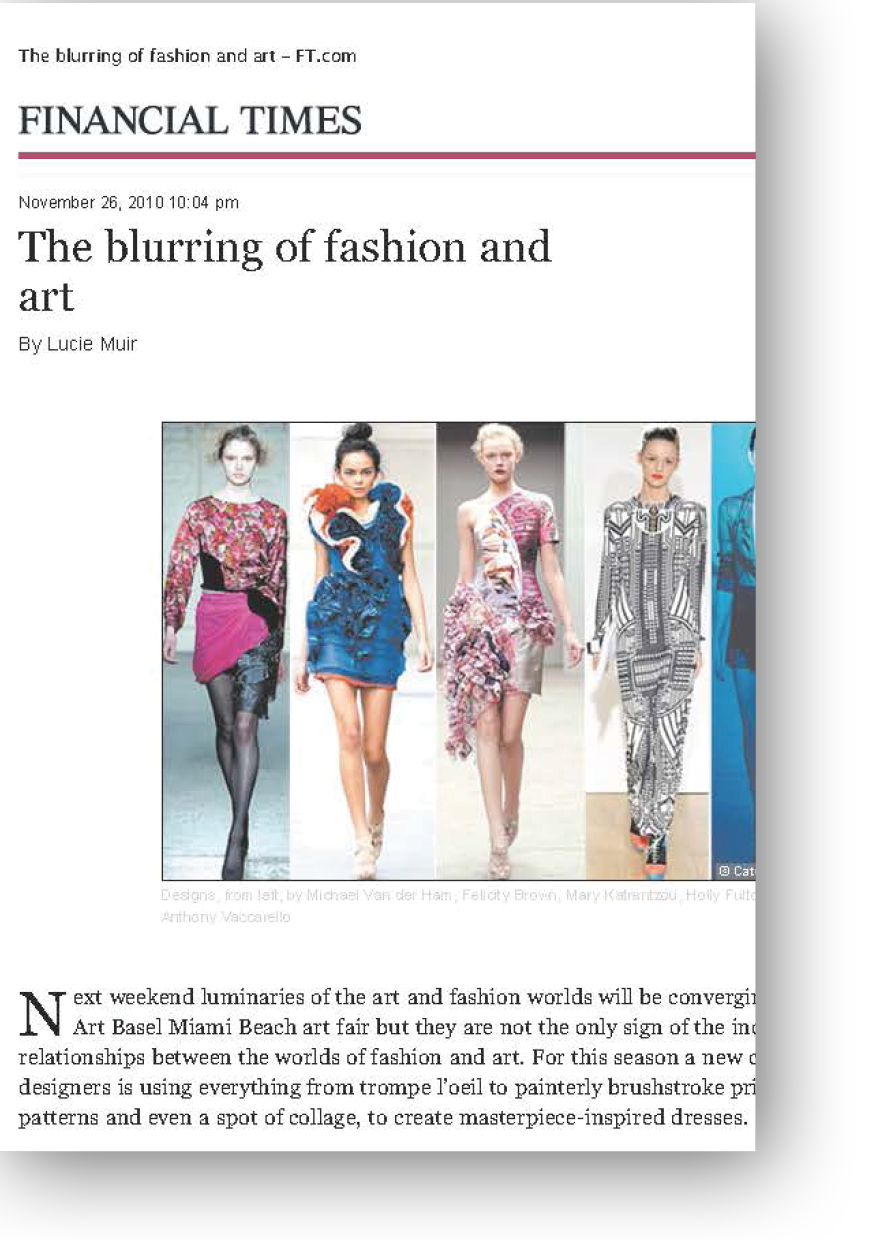 FT article The Blurring of Fashion and Art