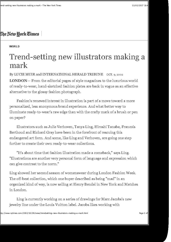 New York Times article on trendsetting illustrators