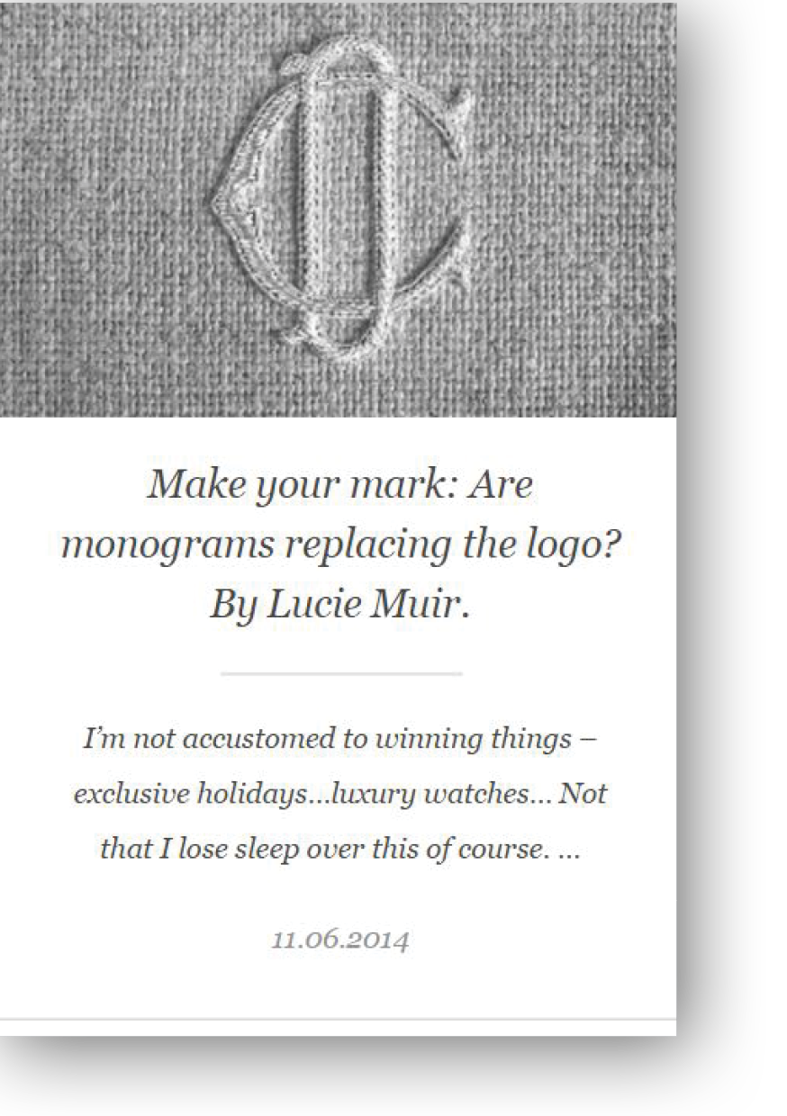 Hudson Walker opinion piece on monograms versus logos