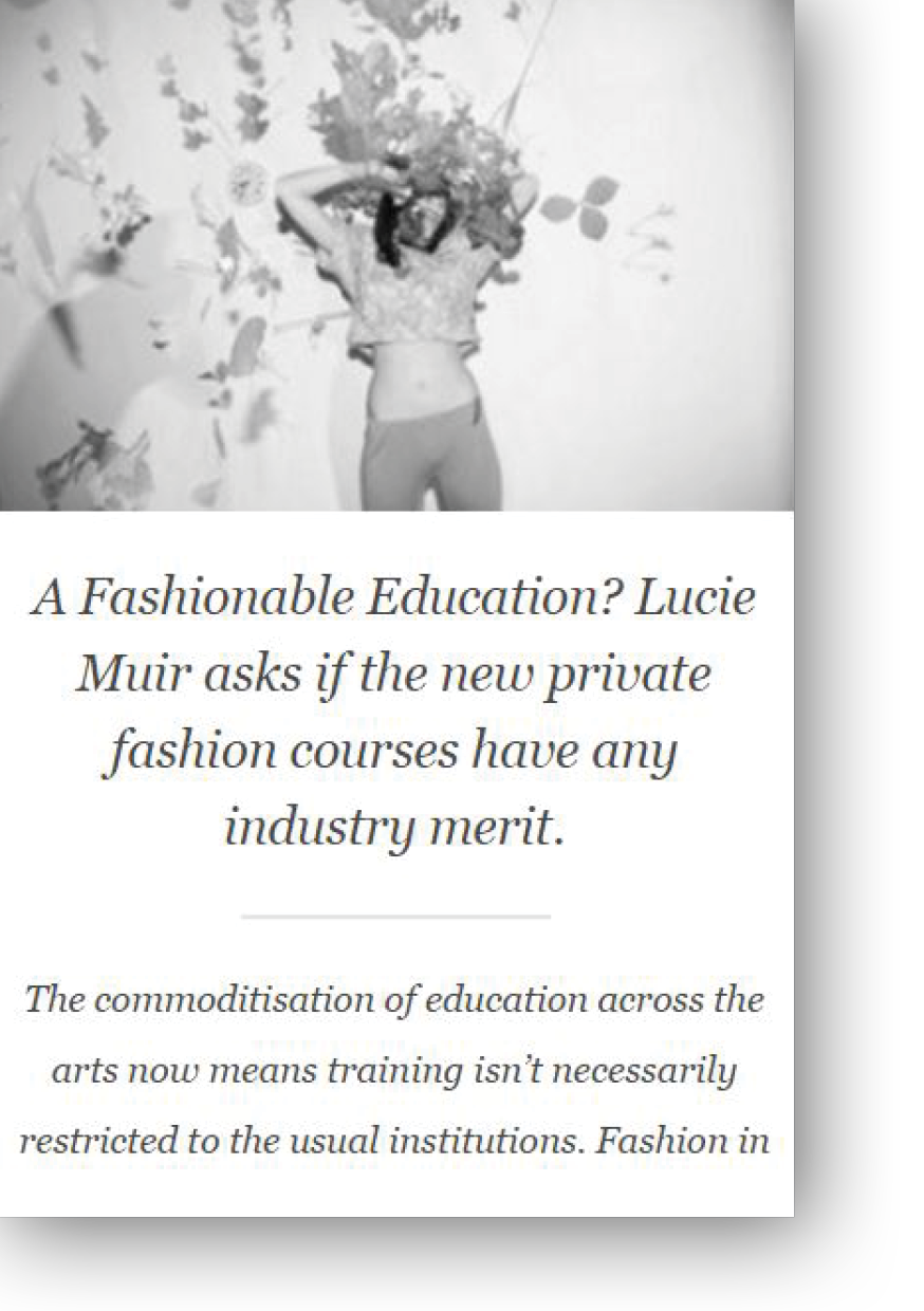Lucie Muir writes on Fashion Education