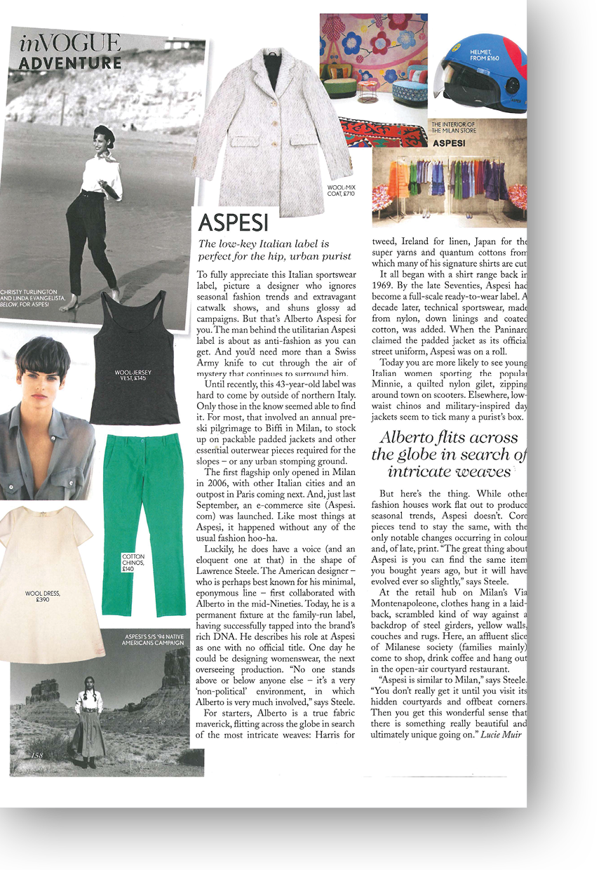 Article on Aspesi by Lucie Muir for Vogue