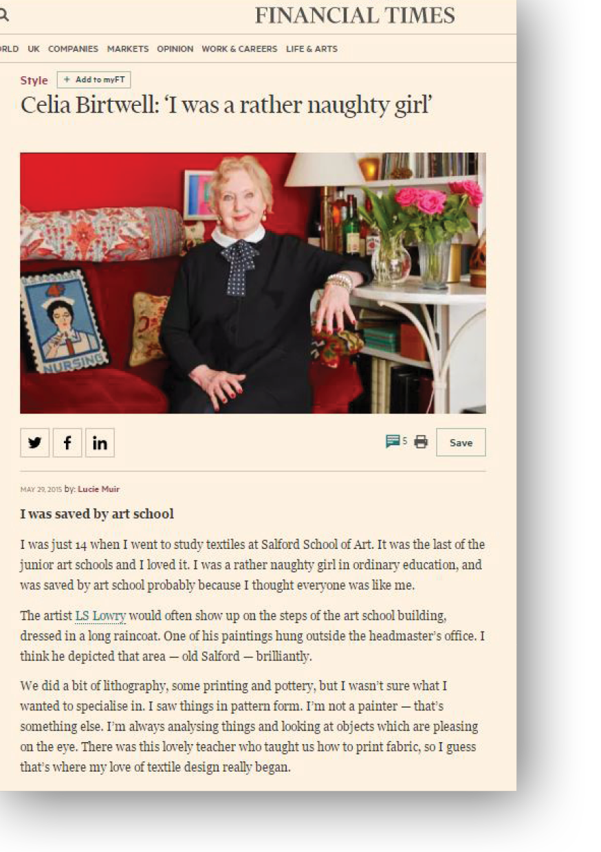 Financial Times article on Celia Birtwell by Lucie Muir