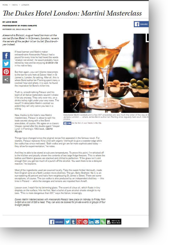 The Dukes Hotel London - The Martini Masterclass