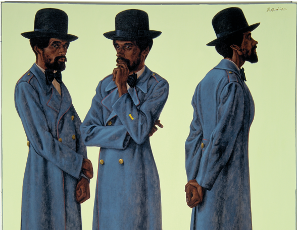 """Bahsir (Robert Gowens)"" (Detail) by Barkley L. Hendricks. PHOTO BY PETER PAUL GEOFFRION/ COURTESY OF THE ARTIST, THE NASHER AND JACK SHAINMAN GALLERY, NEW YORK"