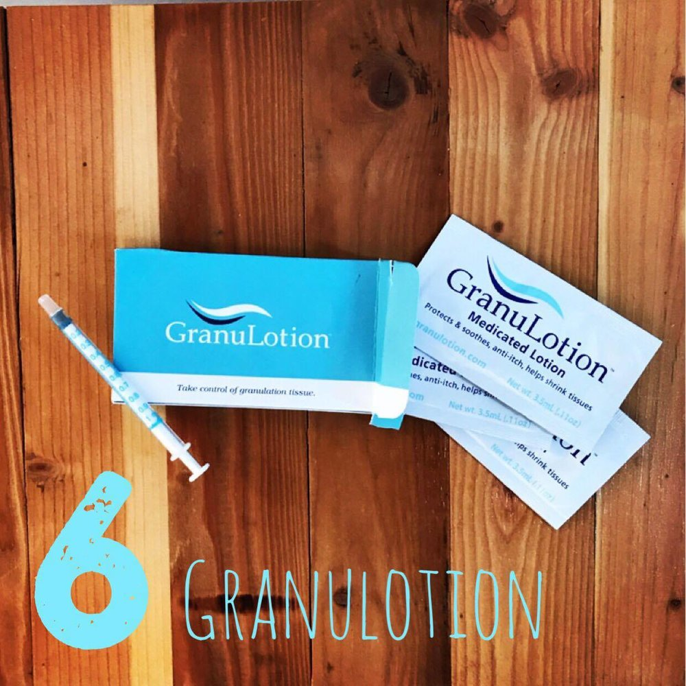 6. Granulotion  Once the g tube site is healed from the initial surgery, you'll feel very proud of how clean you've kept it and how nice it looks. Than the granulation tissue fairy will come to visit and BOOM you've got a new constant problem to deal with. it's not terrible but can be very sensitive and pop up with the slightest rubbing or irritation. My recommendation is to be sure the button is fitting nicely (to tight or too loose can both cause granulation tissue to develop). We've had it cauterized in the hospital a few times but it almost seemed to get worse after the frequency of treatments. We've also used a triamcinolome cream (a steroid) which didn't seem as powerful and caused hair to grow around the stoma. The magic answer to for us was to NOT use cloth g tube pads (the rubbing can cause irritation and granulation tissue) and to apply a small amount of  Granulotion . I used to use a Q Tip to apply this but it would absorb the medicine and you do NOT want to waste this cream because of how expensive it is. I've found that using a 1 mL syringe is much easier to apply and you can keep it in the syringe with a syringe cap to store for next time. This allows you to be more precise when applying as well.