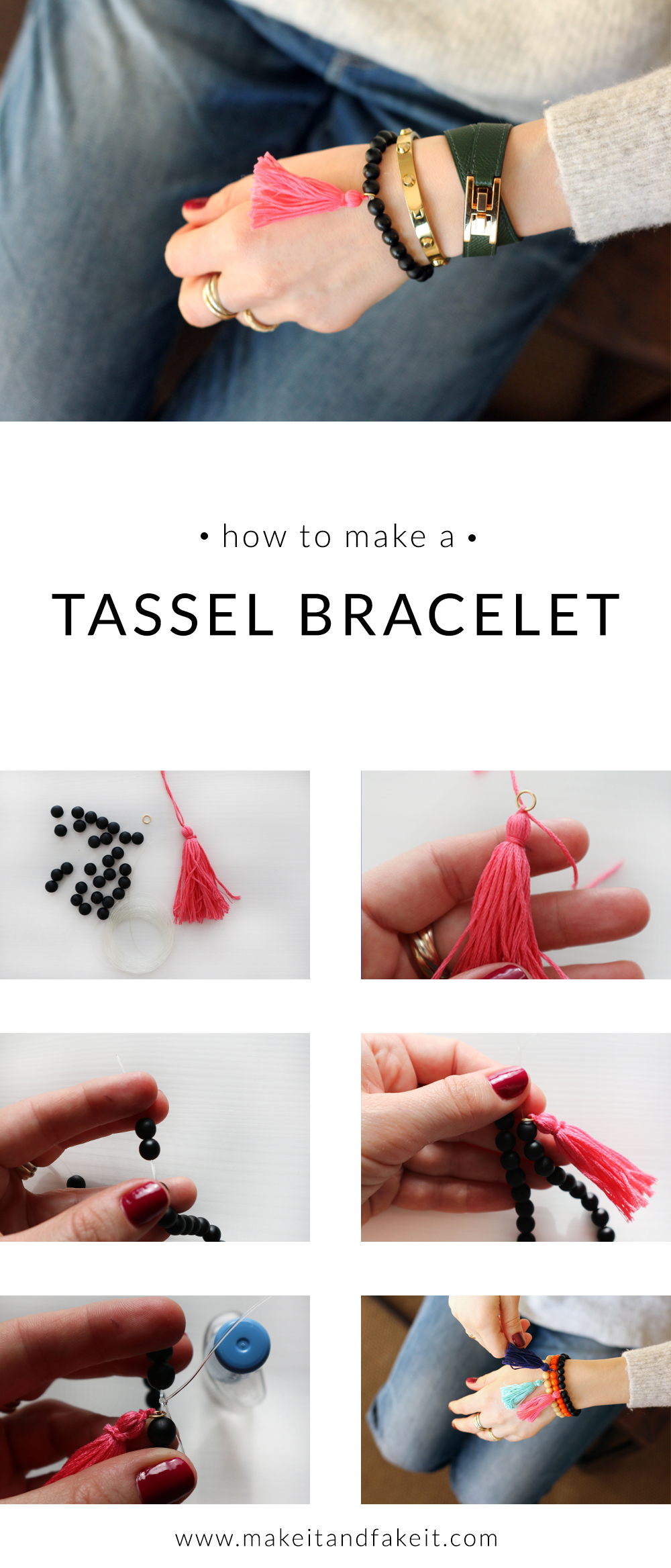 Pinterest graphic for how to make a tassel bracelet
