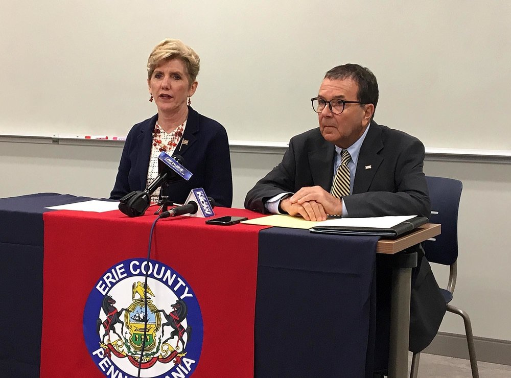 Erie County Executive Kathy Dahlkemper and Erie County Solicitor Richard Perhacs spoke at a June 14 news conference on the Felix Manus case. [MADELEINE O'NEILL/ERIE TIMES-NEWS]