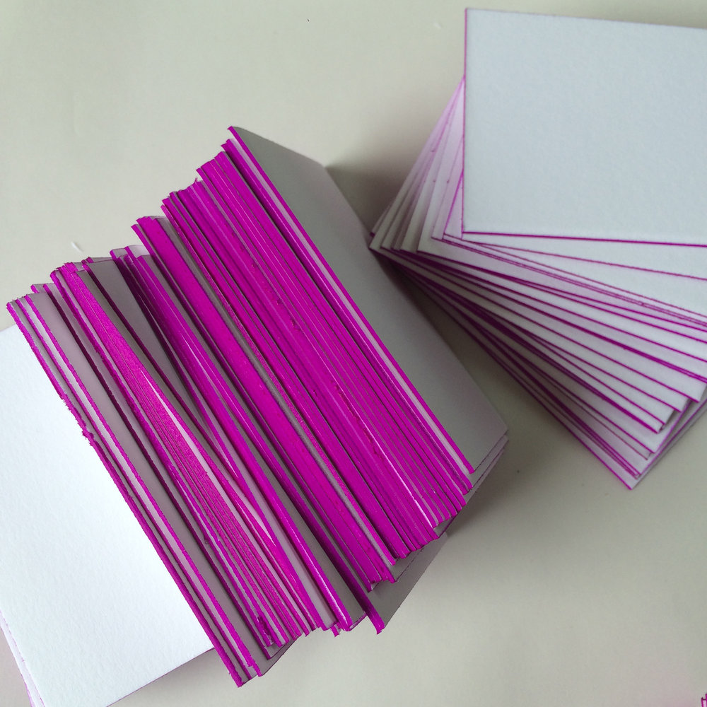 letterpress, custom business cards, painted edges