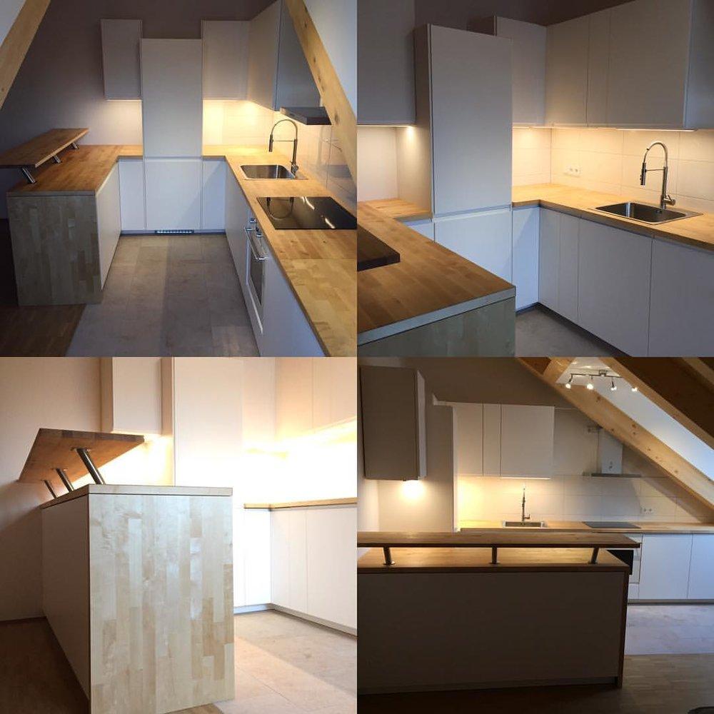 The (mostly) finished kitchen. Jason and I designed it together. // ©2016 Jason S Thompson