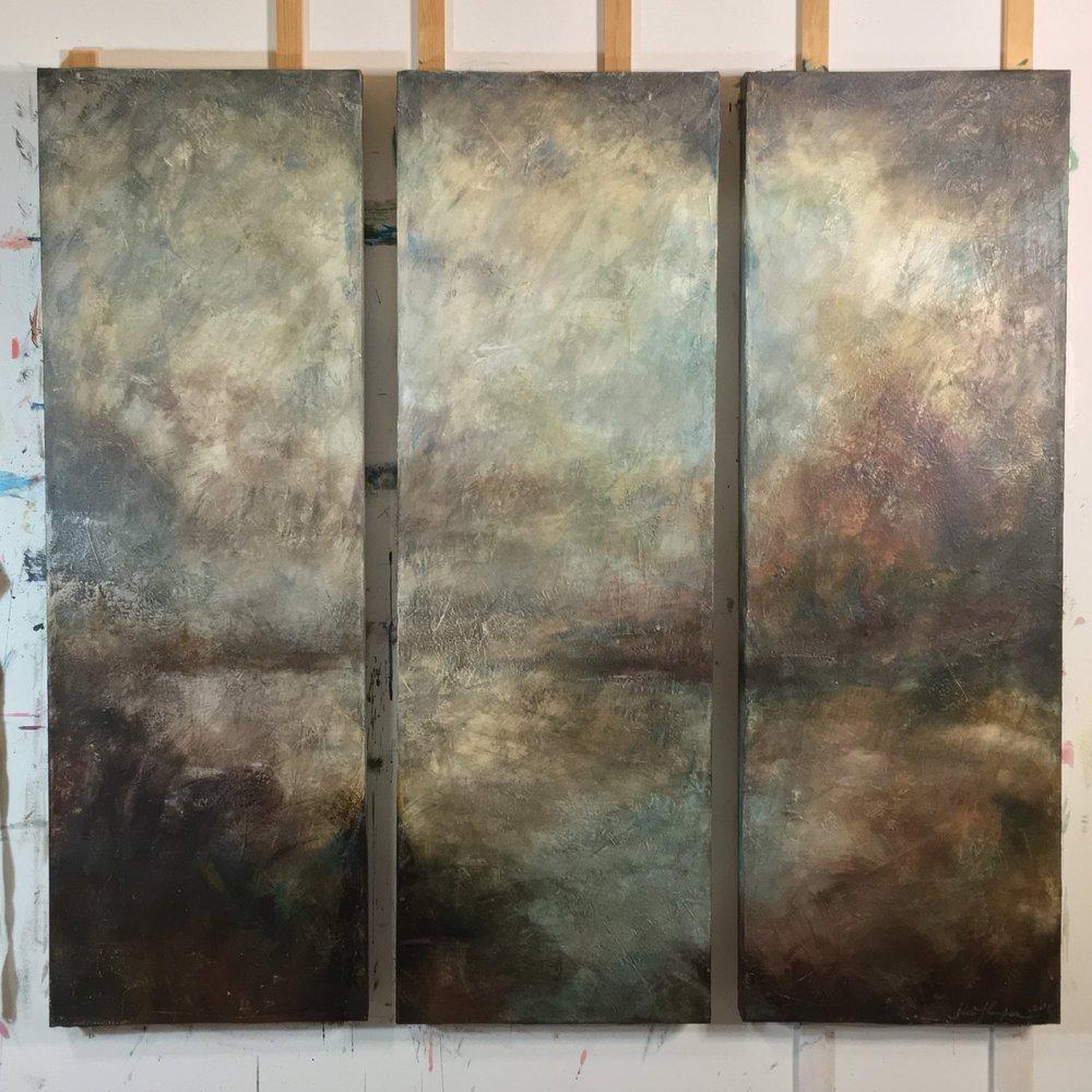 ||| - First Light | Last Light[triptych]40x120cm venetian plaster and acrylic on canvas