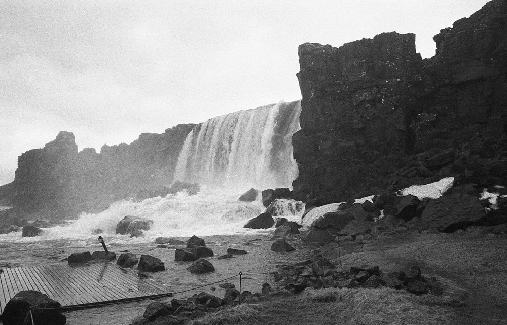 Impressive, this waterfall can with be a single trickling stream of water and change to this  crashing, thunderous example of Icelands meter within days.  Shot on Leica M6 with Bergger Panchromatic 400