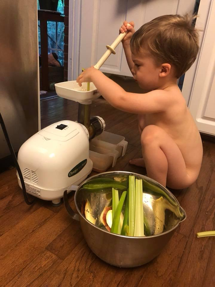 Naked juicing….. I keep my son occupied for a good ten minutes every morning with the juicer (LOVE my Omega juicer, the best!)