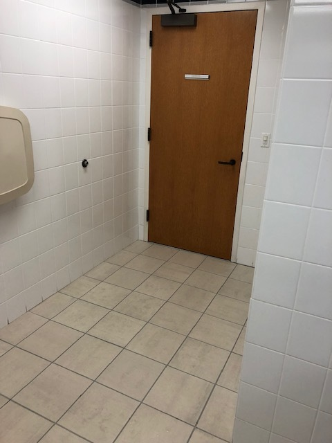 This just kills me - a door you have to open from the inside with a handle and no trash can by the door for a paper towel….