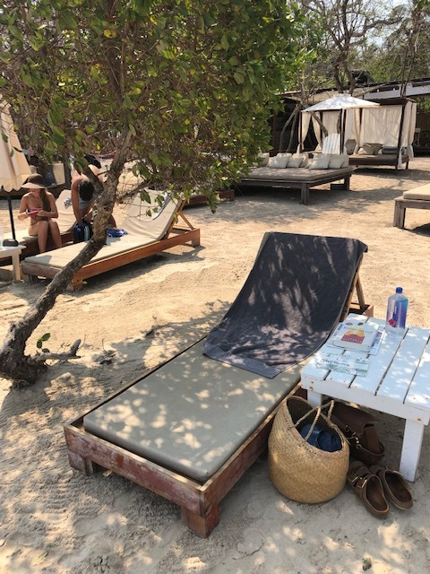 My space with my very own shade tree at Isla Bela!