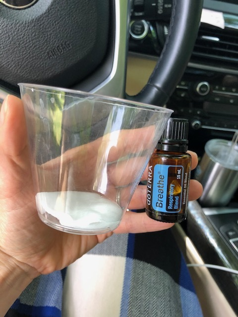 Wet a cotton pad, add a few drops of oil and voila, your own little portable diffuser to inhale!